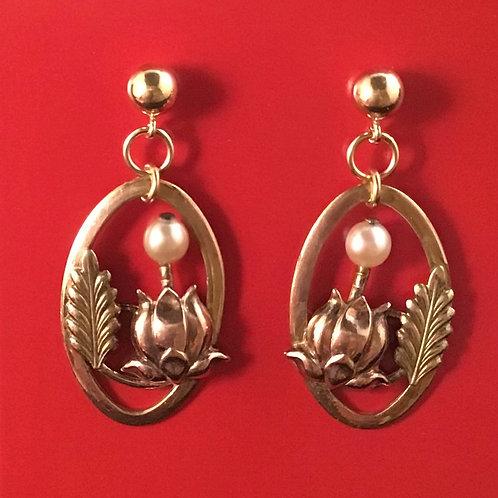 Vintage 10K Gold & Pearl Earrings