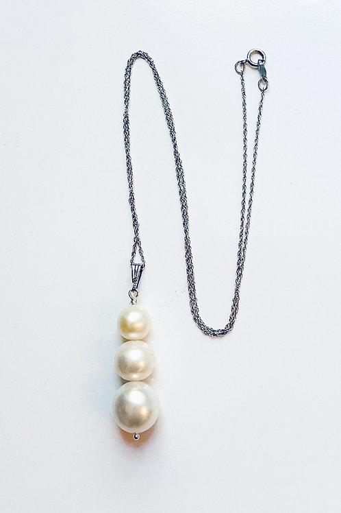 Trio of White Pearls on a delicate silver chain