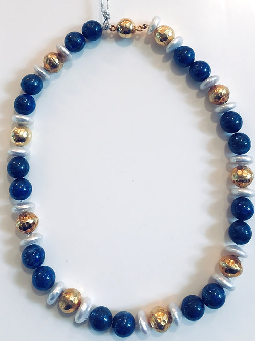 Lapis, Gold and Coin Pearl Necklace