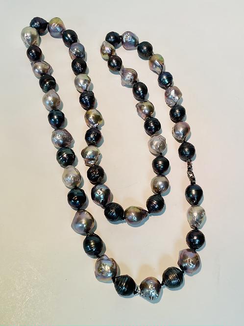 Multi colored Baroque Pearls, Long