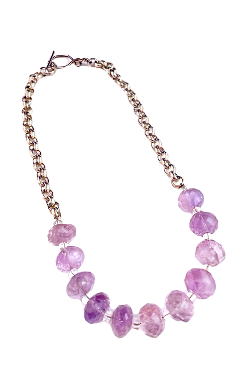 Faceted Amethyst and Sterling Necklace
