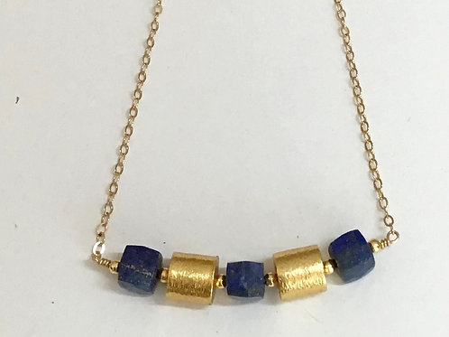 Golden Tubes with Lapis Necklace