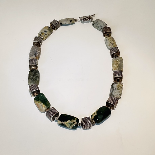 Green Moss Agate and Silver Necklace