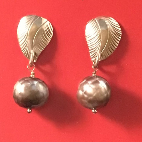 Sterling Leaf and Pearl Drop Earring