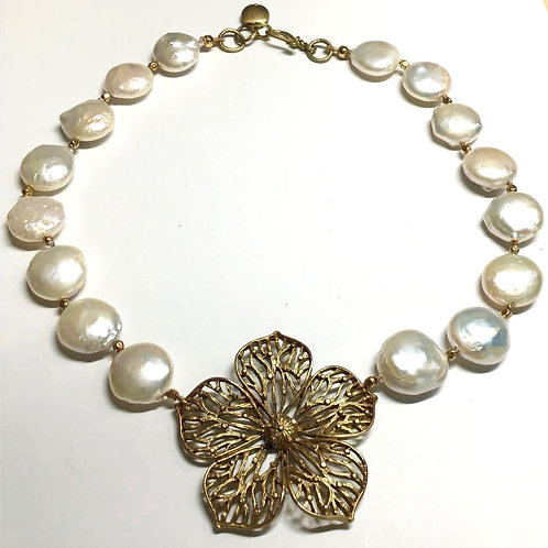 Coin Pearls with Flower