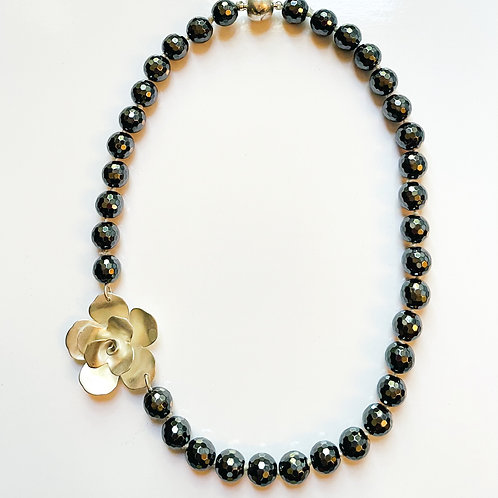 Faceted Hematite with Sterling Flower Necklace