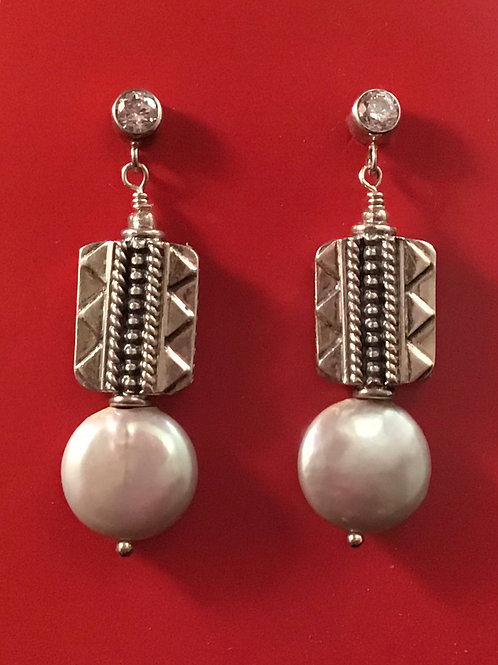 Pearl and Silver Drop Earring with CZ