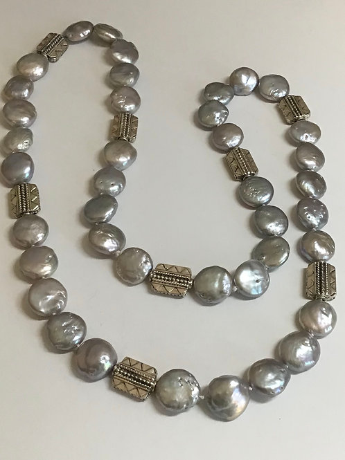 Gray Coin Pearls & Silver I
