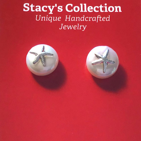 Silver Starfish on Coin Pearl