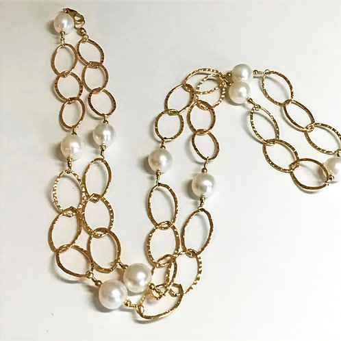 Gold Hammered Link Chain with Pearls