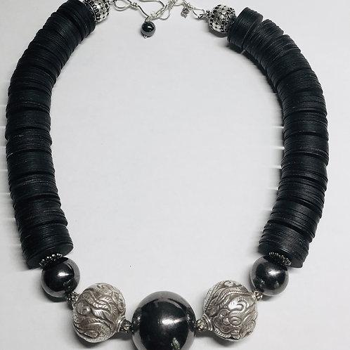 Black Disk & Sterling Bead Necklace