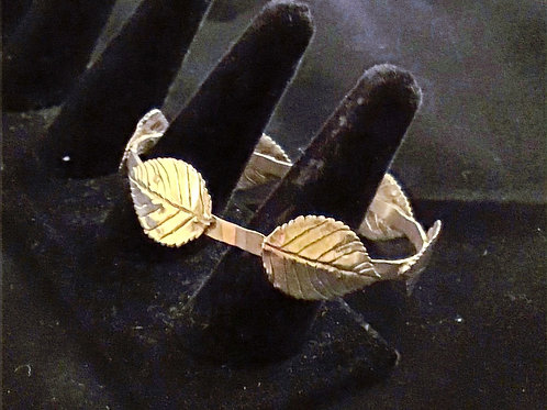 Sterling Bangle with Leaves