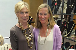 My friend Carole with horn necklace, I am wearing amazonite necklace