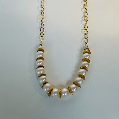 Pearls with Gold Spacer Necklace