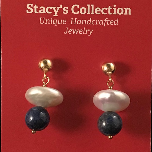 Lapis & Coin Pearl Earring