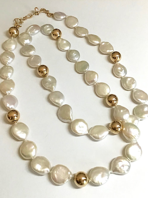 White Coin Pearls with Gold Balls Necklace