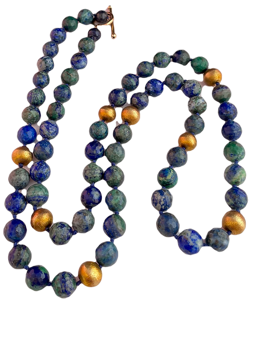 Long Blue, Green and Gold Necklace