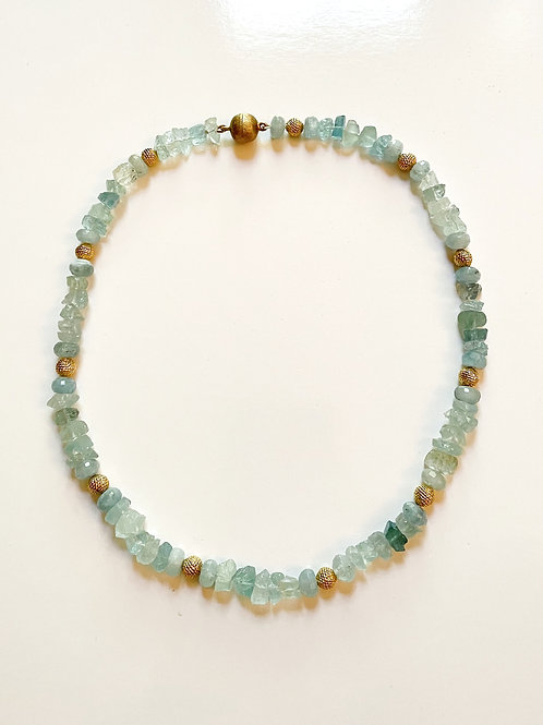 Natural Aquamarine with Vintage Gold Bead Necklace