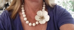 Porcelain flower with matching beads