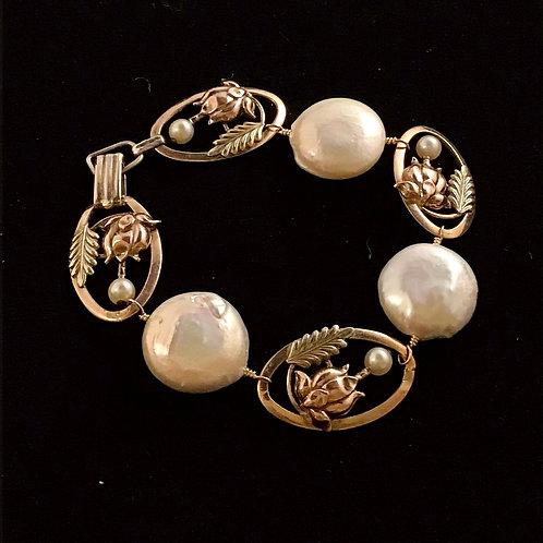 Vintage Gold & Pearl Bracelet