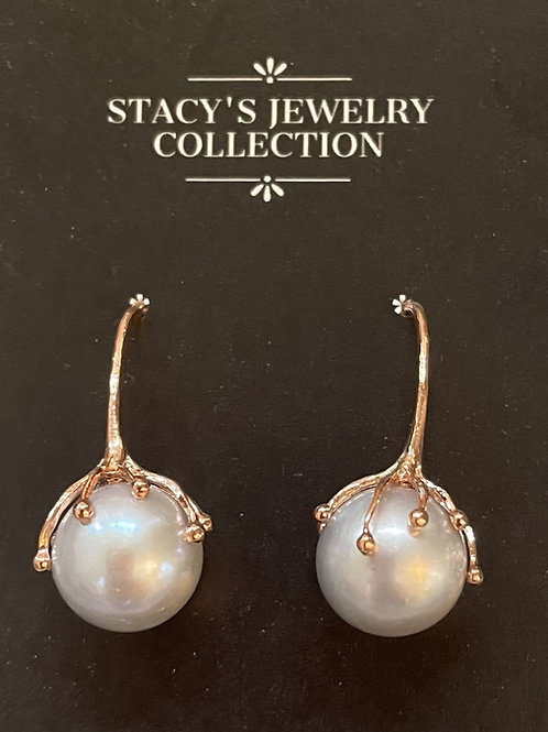 White Pearl with Sterling Cap Earring