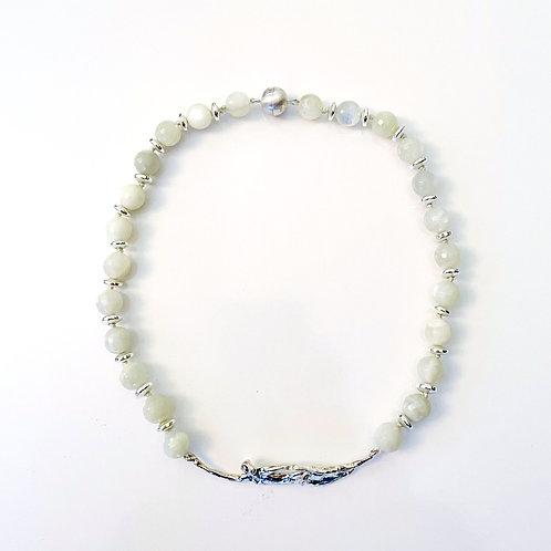Moonstone with Silver Lady Necklace