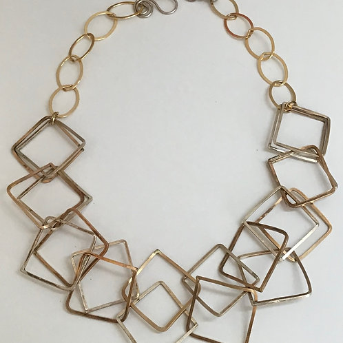 Gold & Silver Squared Necklace