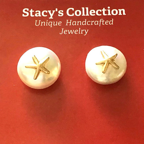 Gold Starfish Coin Pearl with Post