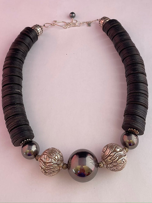 Sterling Silver  and With Black Spacer Necklace
