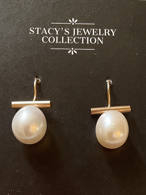 Gold Bar & Wire with Pearl (White)