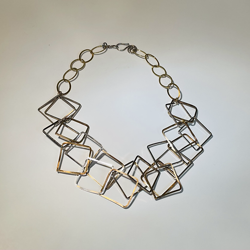 Gold and Silver Modernist Necklace