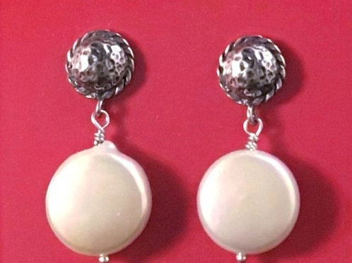 Sterling Silver & Coin Pearl Earring