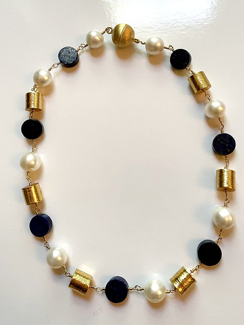Wired Lapis, Pearl andGold Tube Necklace