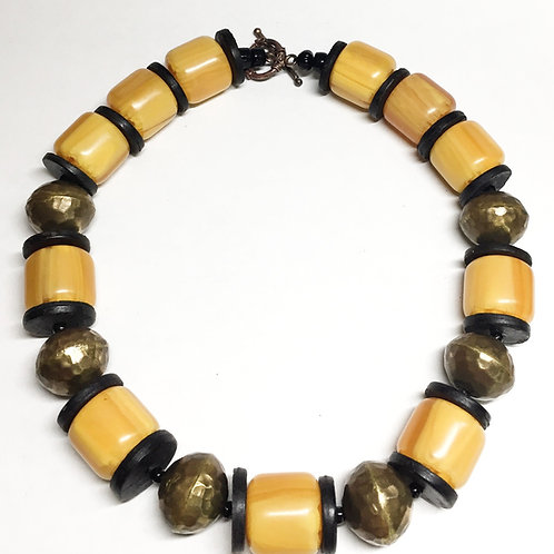 Yellow Amber & Brass Necklace