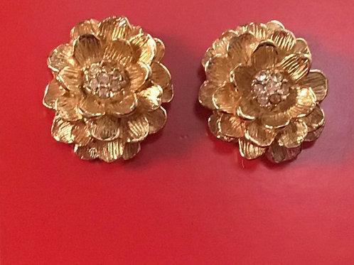 Vintage Flower Earring with Rhinestone