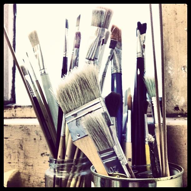 Brushes on the windowsill of my studio.