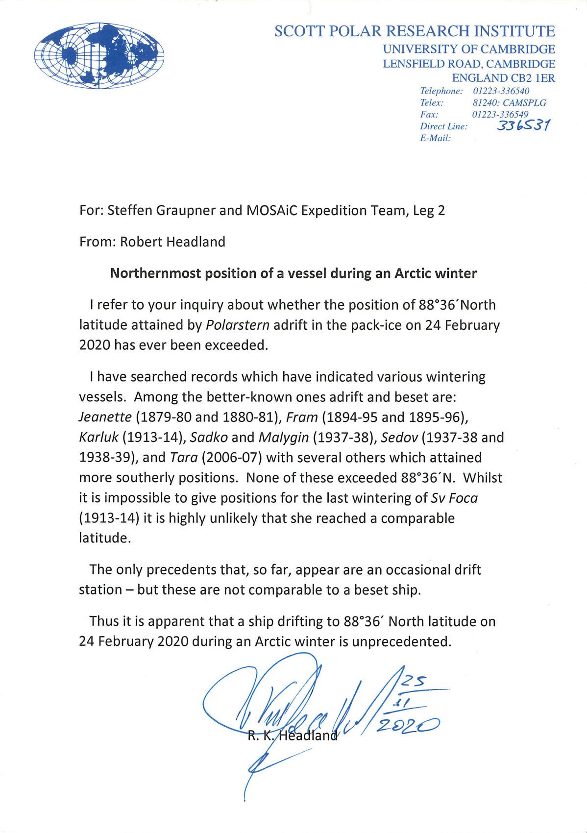 Farthest North Polarstern - SPRI - Robert Headland