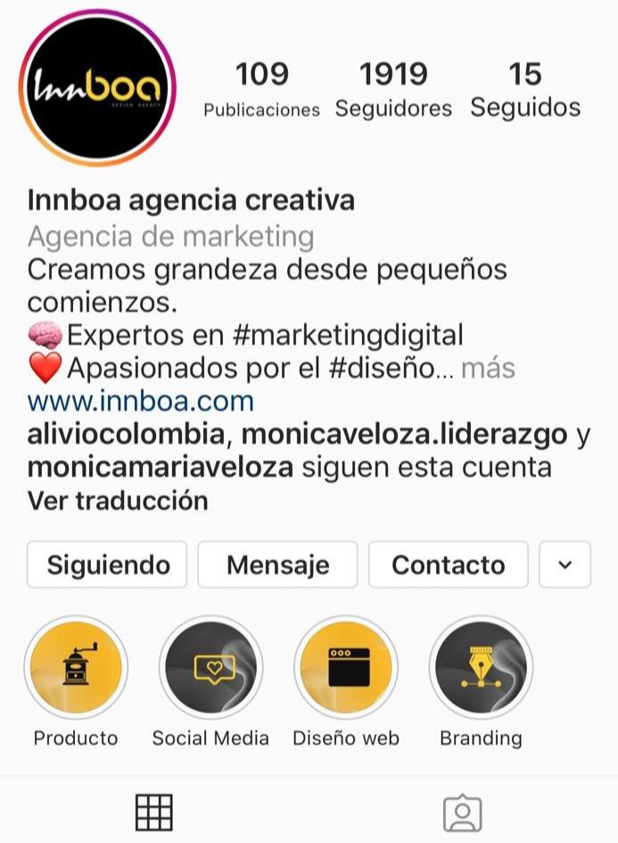 Cuenta Innboa Creative Agency Instagram