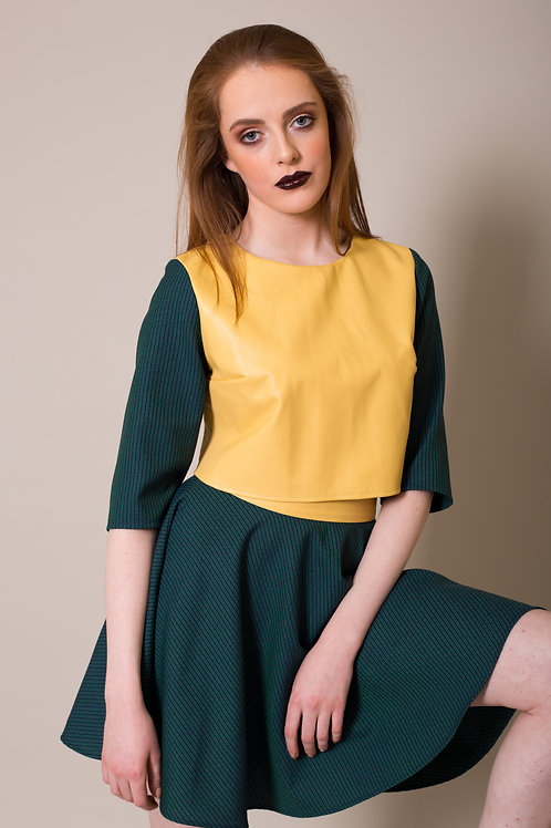 Lemon leather top with teal stripe sleeve