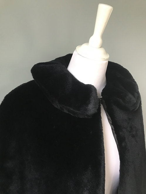 Black Faux fur (Mole) cape