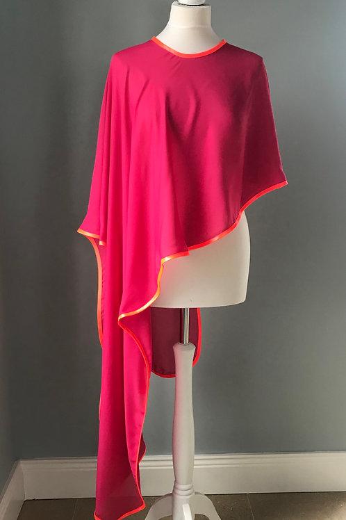 Pink goregette cape with orange satin binding trim