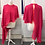 Thumbnail: Pink goregette cape with orange satin binding trim