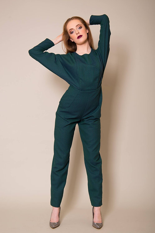Teal Green Striped Jumpsuit