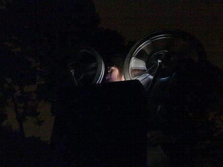 Lauren Sorenson projecing 16mm in Golden Gate Park
