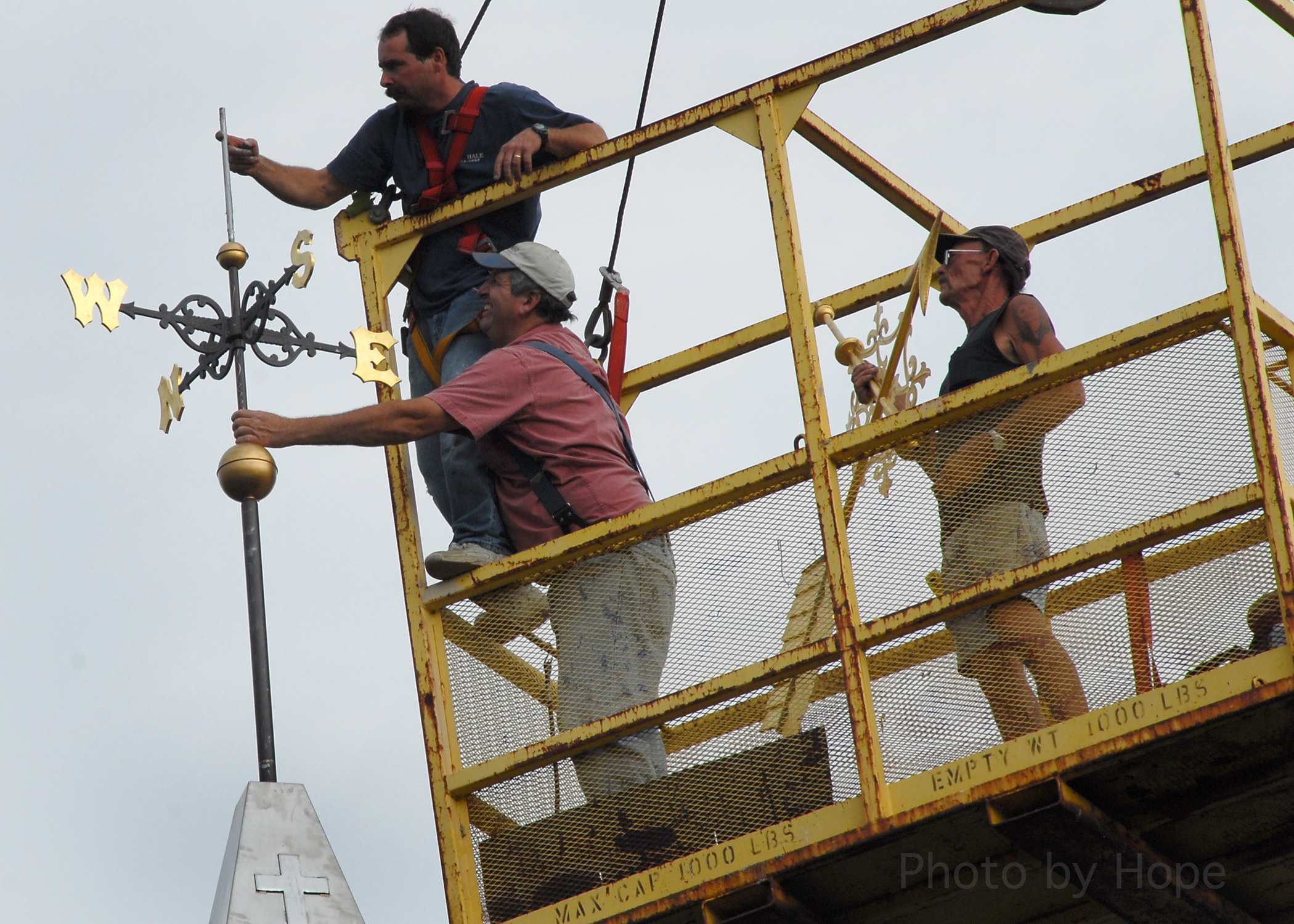 Attaching the weather vane