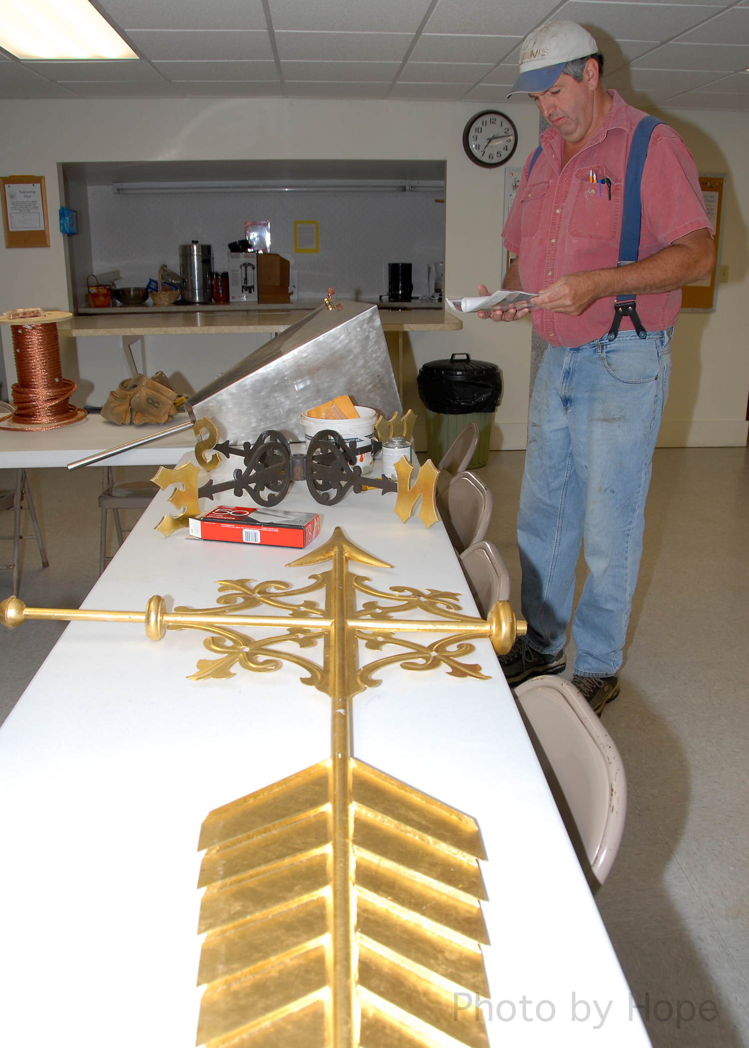 Jeff assembling the weather vane
