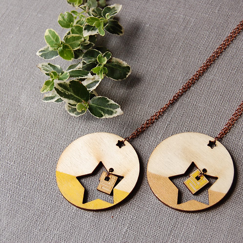 Double Star 별 Byul Necklace