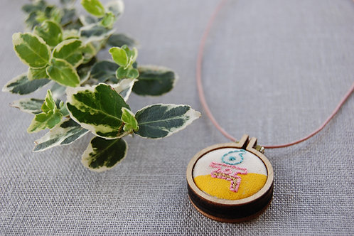 Six 육 Yuk  embroidery Necklace
