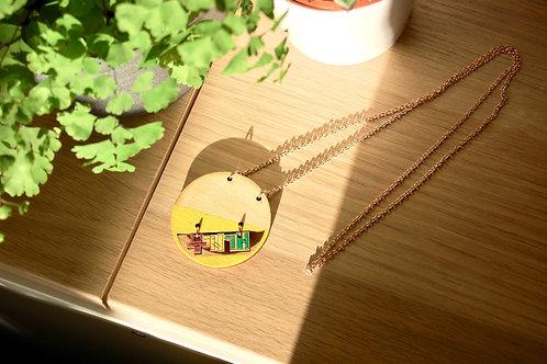 Round rainbow 무지개 moojigae necklace