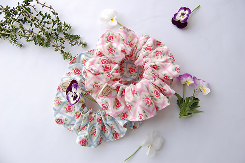 Rose Check Scrunchies